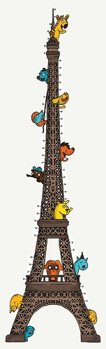 Eiffel Tower Zoo - Growth Chart Wall Sticker | by Miki Mottes