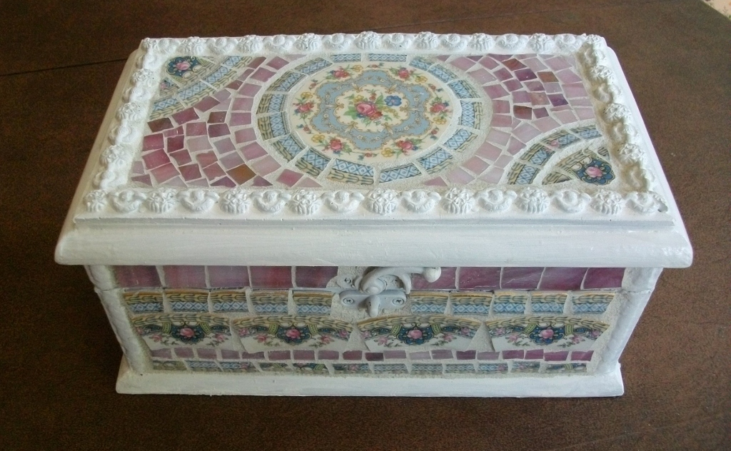 Mosaic jewelry box Am working on relining this little box Ree