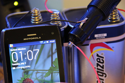 IMG_0522-charging a phone with a car inverter and two 6V batteries in series | by dreamexplorer