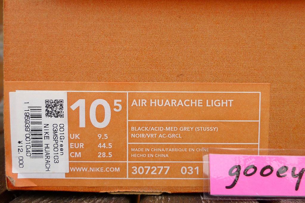 ... Nike Air Huarache Light x Stussy  Black   Acid - Medium Grey  (307277 4153fa9f5