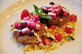 Old Bay Tofu Cakes with Pan-Roasted Summer Vegetables, Horseradish Cream, Apples and Beets | by tofu666