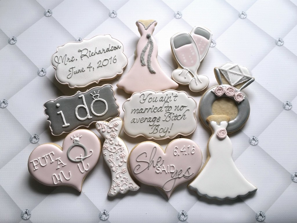Wedding Bridal Shower engagement cookies | Custom Cookies by Jill ...