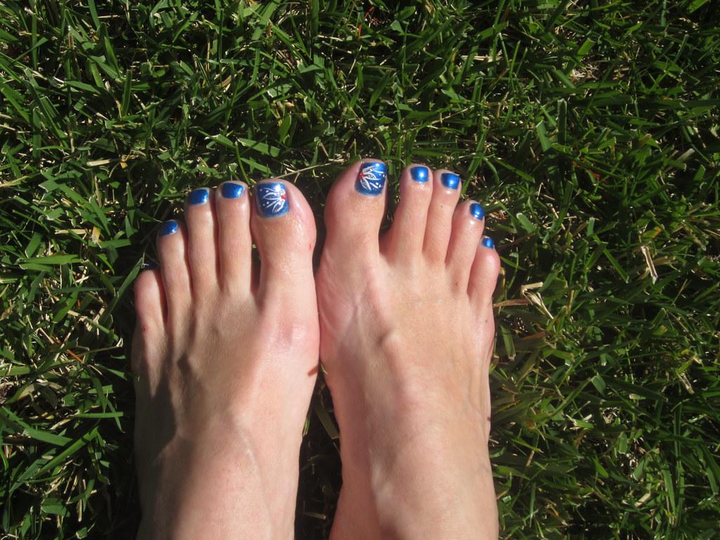 Toenails Painted Blue