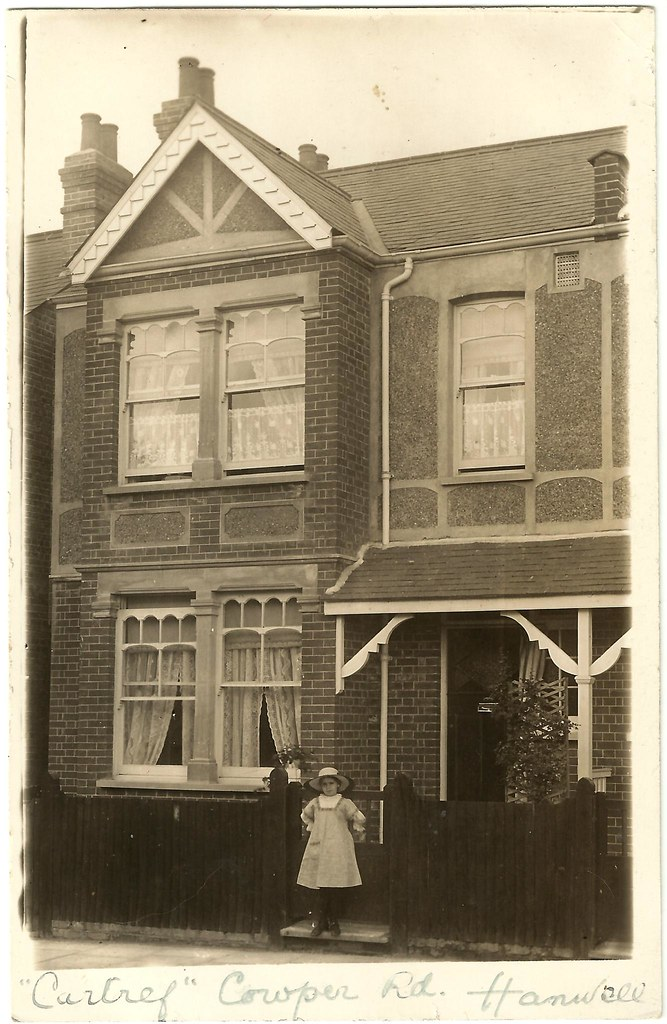 young girl outside house on cowper road  hanwell ca 1915