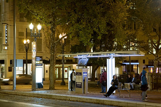 MAX shelter on the Portland Transit Mall at night | by TriMet