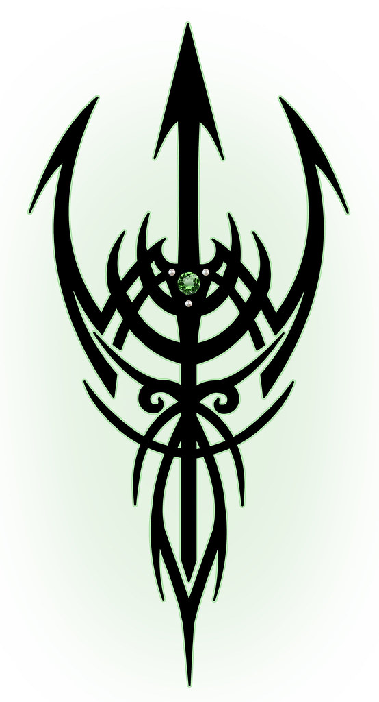 Trident Tattoo Company: Tribal Trident Tattoo In Color