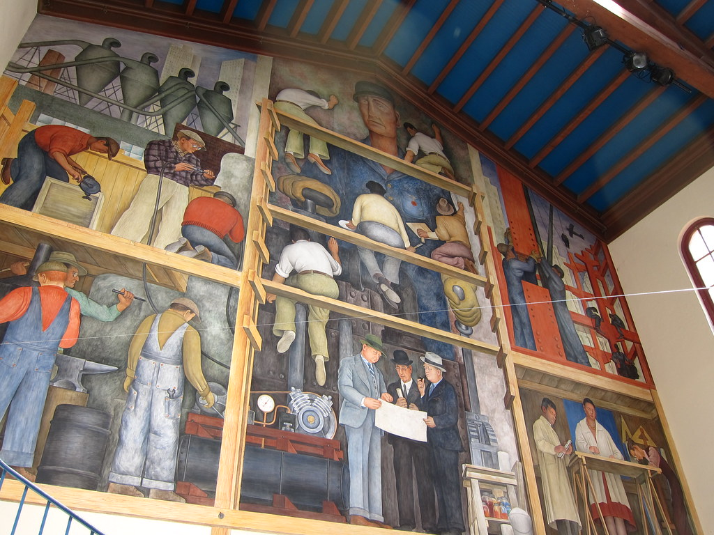 The building of a city diego rivera san francisco has a for Diego rivera mural in san francisco