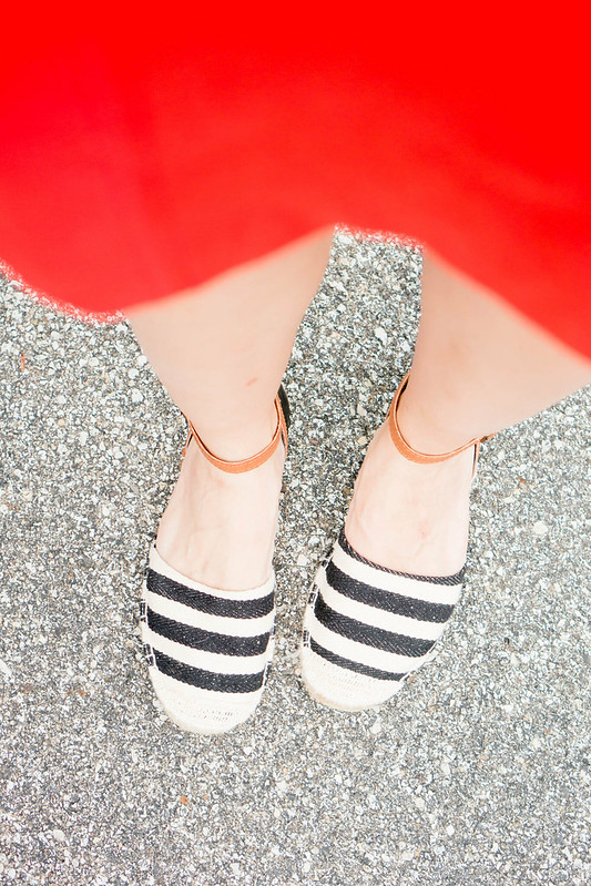 old navy city tee + denim jacket + red Loft skirt + stripe espadrilles | Style On Target blog