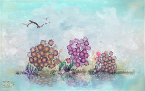 Image of flowers painted in Paintstorm Studio and Photoshop