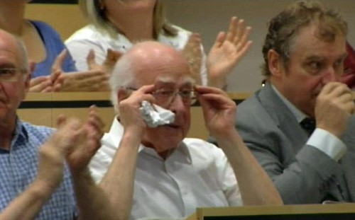 Professor Higgs wipes a tear from his eye as fellow scientists find his God particle on momentous day for science 40 years after he predicted its existence | by RinkRatz