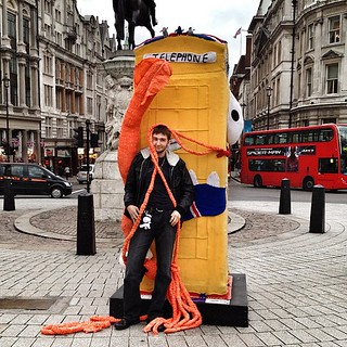 Whodunnknit Pix: Monster shots: this man is clearly thrilled to meet a giant knitted squid and a woolly @btartbox. #btartbox | by Deadly Knitshade
