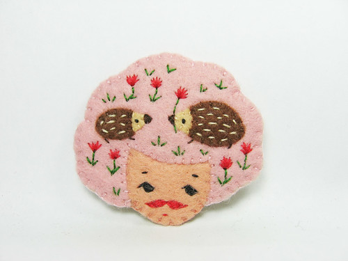 Fantasia cookie girl head felt brooch | by hanaletters