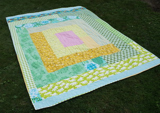Sherbet Log Cabin Quilt - giant improv log cabin back | by Cut To Pieces