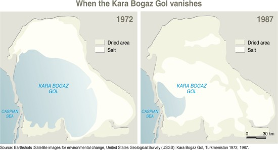 When the Kara Bogaz Gol vanishes   Two maps showing how the …   Flickr