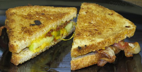 Grilled cheddar, bacon, and pickle on wheat | by Coyoty