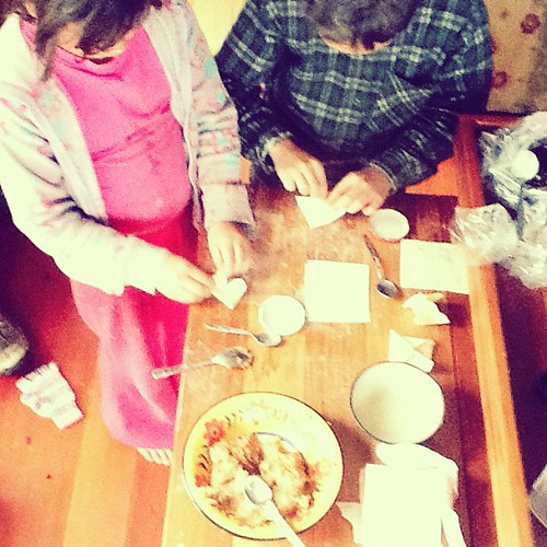 The children are making chicken won ton for dinner tonight. #homeschool #cooking #kids | by Arfi Binsted of HomeMadeS