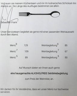 Karte im Restaurant Horváth, Berlin