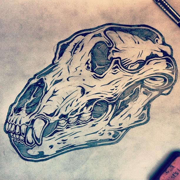 Bear Skull Drawing Bear skull #2. #illust...