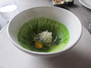 Noma - Copenhagen - August 2012 - Stone Crab with Parsley Puree, Verbena and Seaweed Broth and Egg Yolk | by garyalanfine