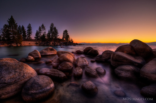 Last bit of light - Dancing on the boulders along the shores of Lake Tahoe | by MDSimages.com