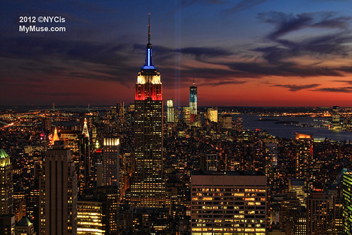 Twilight: WTC Tribute in Light with the Empire State Building in Red White Blue | by NYCisMyMuse