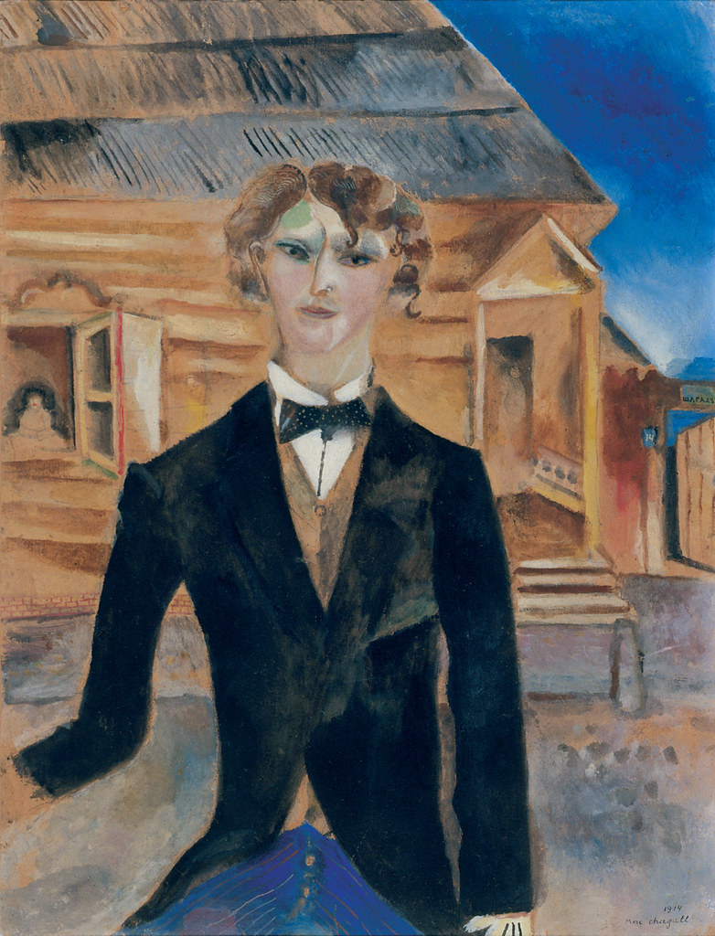 C ] Marc Chagall - Self-portrait in front of a house (19… | Flickr