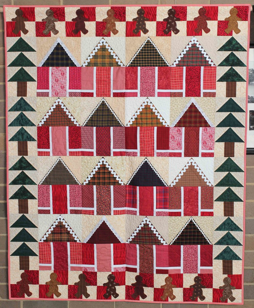 Gingerbread House Quilt Pattern Free : Gingerbread Houses by Helen Kahwati. This whimsical quilt ? Flickr