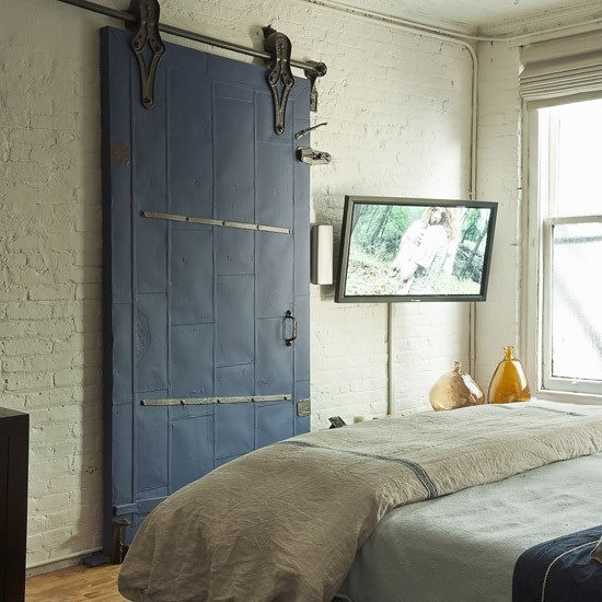 The blue barn door photo source unknown unique blue for Barn style bedroom ideas