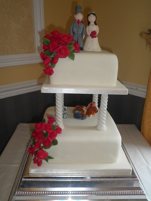 two tier wedding cake with pillars two tier wedding cake with barley twist pillars flickr 21377