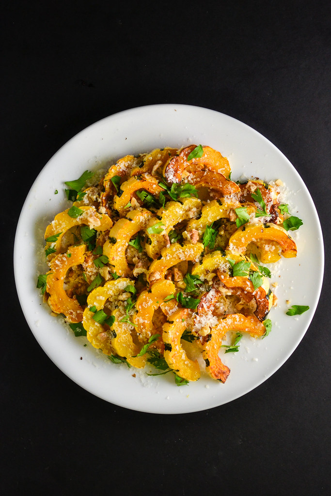 Roasted Delicata Squash with Parmesan and Walnuts | Things I Made Today