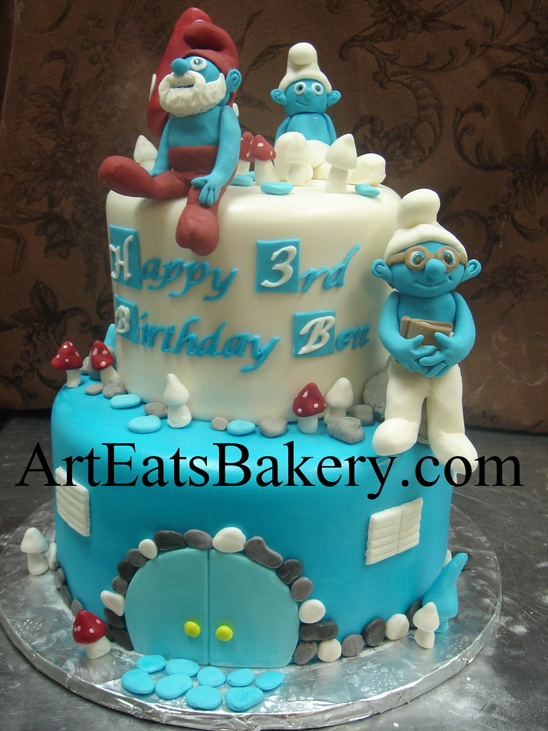 Two Tier Blue And White Fondant Kids Custom Unique Smurf B