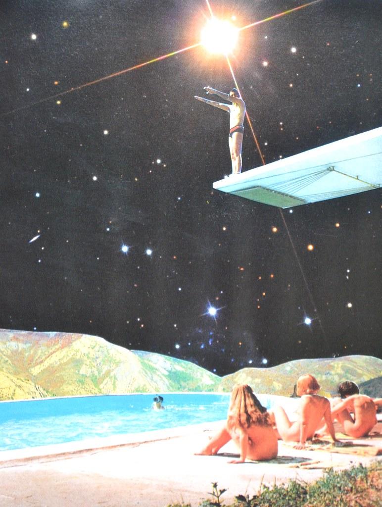 Diving space handmade collage djuno tomsni flickr for Vintage outer space decor