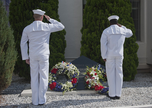 Sailors salute during Sept. 11 ceremony. | by Official U.S. Navy Imagery