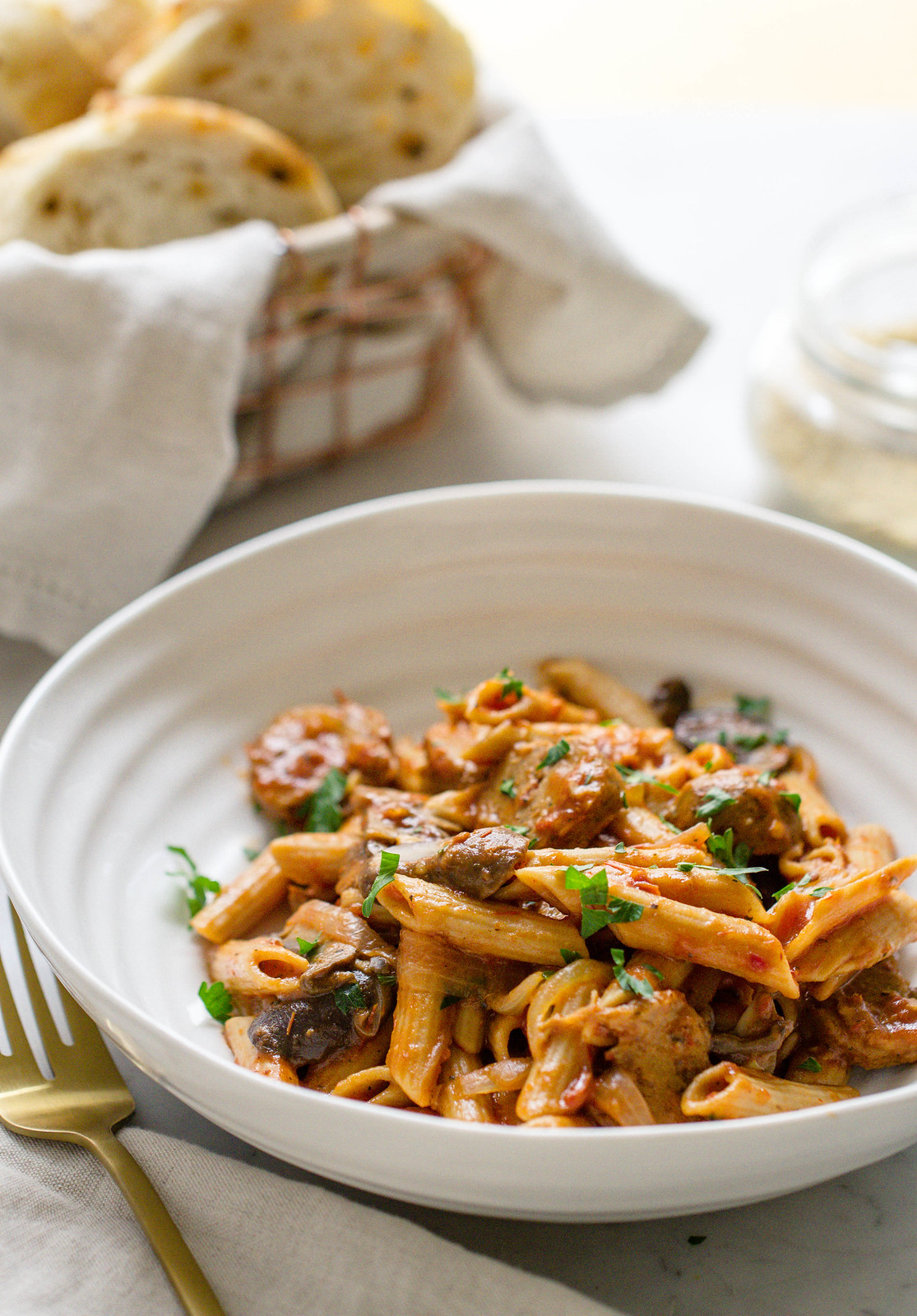 ONE POT WONDER PASTA W/ MUSHROOMS + SAUSAGE