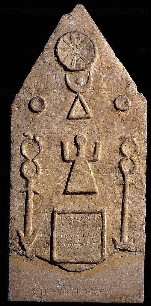Phoenician funeral stele - Moon-Goddess Tanit with sun & m ...