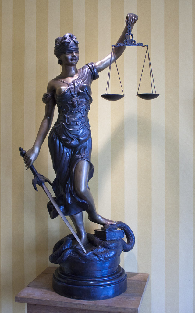 Original Justice Lady Bronze Marble Statue Nude Female by