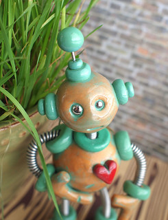 Paxe Patina Garden Robot Sculpture | by HerArtSheLoves