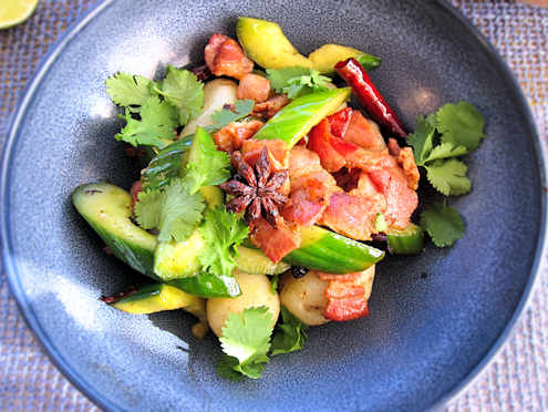 spicy bacon and cucumber salad