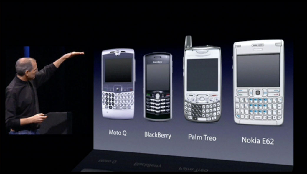 Steve Jobs showing then-current smartphones at Macworld 2007