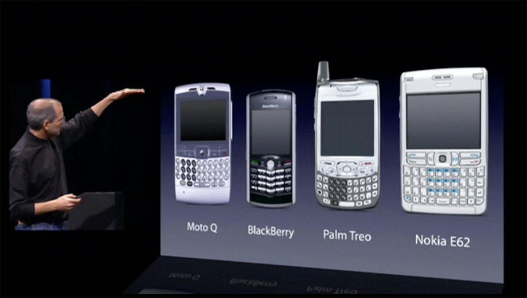 Steve Jobs showing then-current smartphones at Macworld 2007