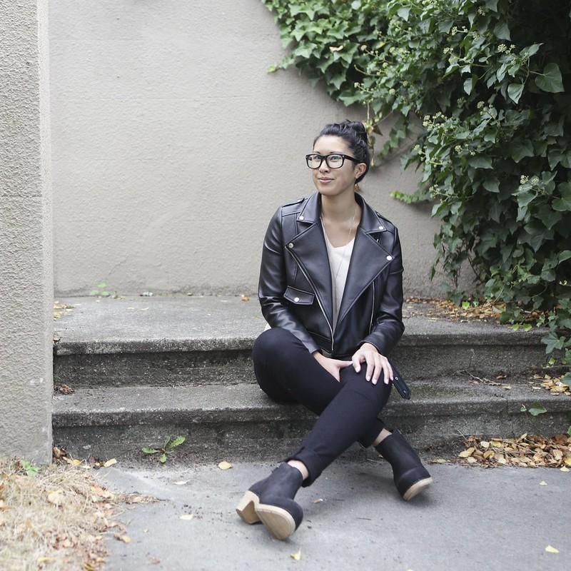 Minimalist outfit ft Dansko clogs