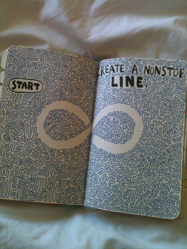 Line Art Journal : Create a nonstop line wreck this journal bethany flickr