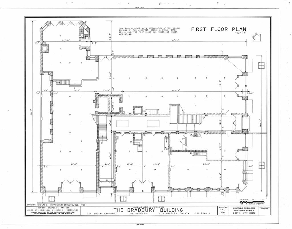 Bradbury building first floor plan located in the for Floor plans los angeles