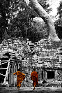 Monks at Ta Prohm - Cambodia | by Steven Goethals