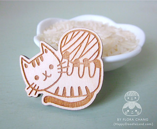 Kitty Wooden Brooch | by Flora Chang | Happy Doodle Land