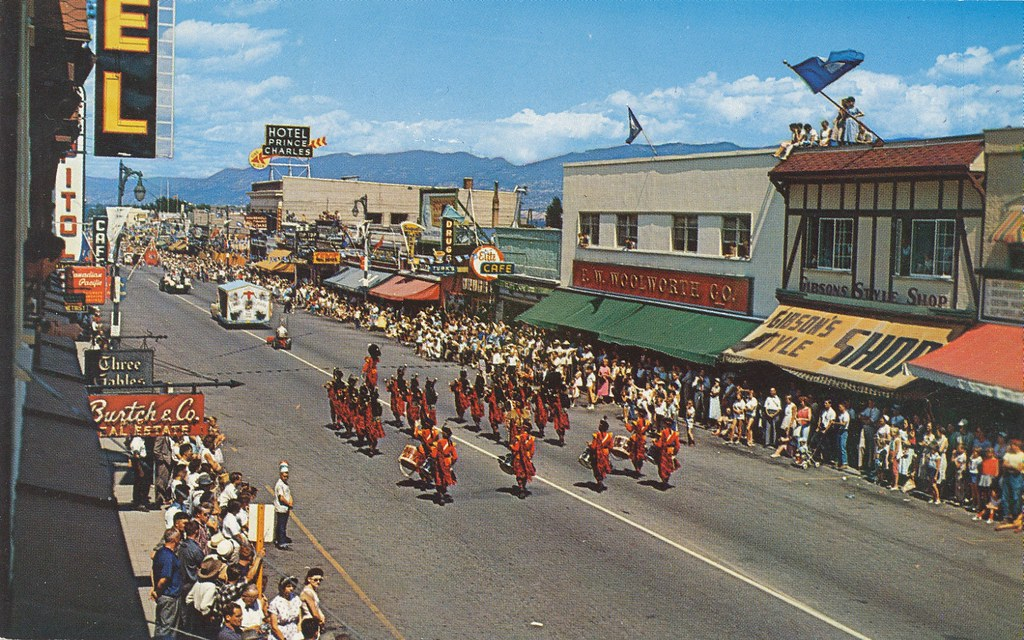 Postcard Main Street Penticton Bc 1958 View Of 300