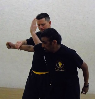 Pete and Sifu Virk practicing hand block techniques | by Midlands Academy of Chinese Kung Fu (Wu Lei Chuan)