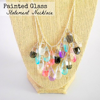 Painted Glass Teardrop Statement Necklace - The Silly Pearl | by steph2pigs