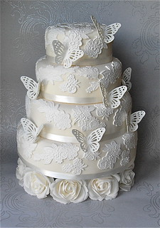 Butterfly Lace Wedding cake | by Sugar Ruffles