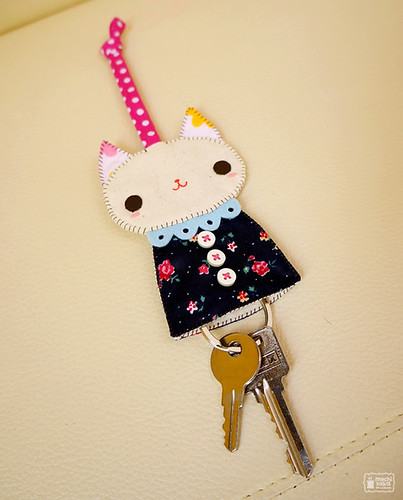 Prussian blue kitty key cover | by mochikaka
